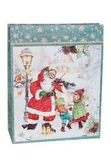 Пакет подарочный новогодний Дед Мороз - музыкант