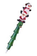 Ручка шариковая Дед Мороз с пингвином