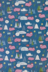 Бумага упаковочная новогодняя Свинки