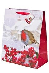 Пакет подарочный новогодний Снегирь на ветке