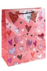 Пакет подарочный Разнообразные сердца