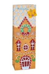 Пакет подарочный новогодний для бутылки Имбирный домик