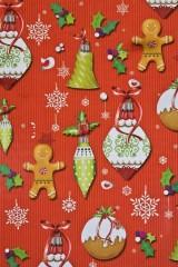 Бумага упаковочная новогодняя Прянички с игрушками