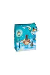 Пакет подарочный новогодний Совята с подарками
