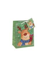 Пакет подарочный новогодний Олень с подарком