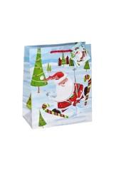 Пакет подарочный новогодний Дед Мороз и лыжи