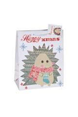 Пакет подарочный новогодний Ежик в шарфике