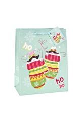 Пакет подарочный новогодний Пингвины в варежках