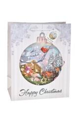 Пакет подарочный новогодний Домик в лесу
