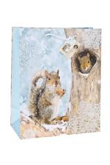 Пакет подарочный новогодний Белочка с орешком