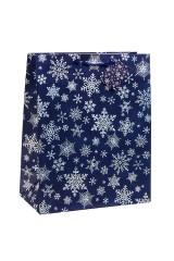 Пакет подарочный новогодний Сияющие снежинки
