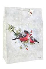 Пакет подарочный новогодний Парочка снегирей
