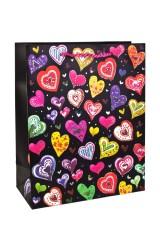 Пакет подарочный Разноцветные сердца