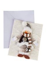 Открытка подарочная новогодняя Снеговичок