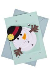 Открытка подарочная новогодняя Кружащийся снеговик