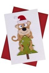 Открытка подарочная новогодняя Обезьянка на елке