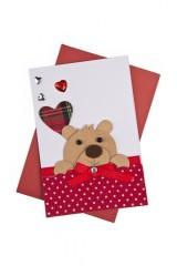Открытка подарочная Влюбленный мишка