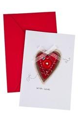 Открытка подарочная Сердце с пуговкой
