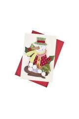 Открытка подарочная новогодняя Снеговик с елочкой