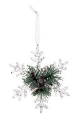 Украшение новогоднее Прекрасная снежинка с еловыми веточками