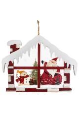 Украшение новогоднее Дед Мороз со снеговиком в домике