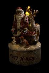 Украшение новогоднее светящееся Дед Мороз с лесными жителями