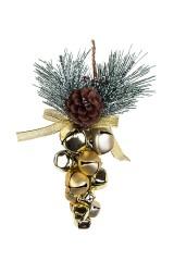 Украшение новогоднее Бубенцы с еловой веточкой