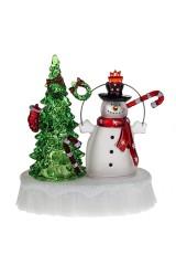 Украшение новогоднее светящееся Елка и снеговик