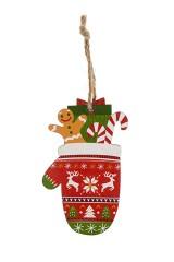 Украшение елочное Варежка с подарками