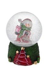 Украшение новогоднее музыкальное Шар - Снеговик с подарками