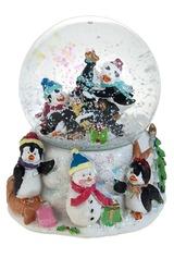 Украшение новогоднее Шар - Пингвины с подарками