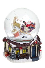 Шар со снегом музыкальный Дед Мороз на санях