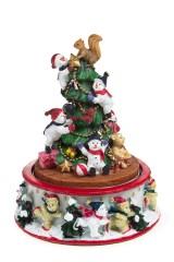 Украшение новогоднее музыкальное и двигающееся Снеговики у елки