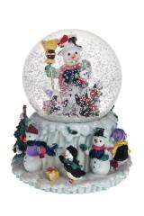 Украшение новогоднее музыкальное Шар - Снеговик и пингвины