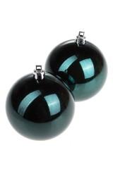 Набор шаров елочных Набор шаров елочных, 2-предм., Д=7.5см, пласт., темно-изумрудный