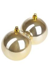 Набор шаров елочных Набор шаров елочных, 2-предм., Д=7.5см, пласт., крем.