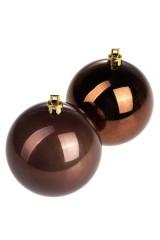 Набор шаров елочных Набор шаров елочных, 2-предм., Д=7.5см, пласт., шоколадный
