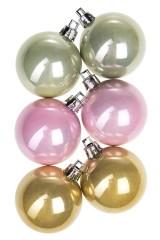 Набор шаров елочных Набор шаров елочных, 6-предм., Д=5см, пласт., жемчужный, крем.-желтый, св.-розовый