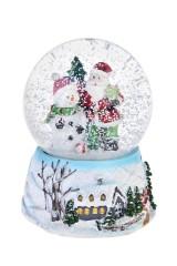 Украшение новог. музык. Шар- Дед Мороз и снеговик у елки
