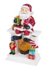 Украшение новогоднее светящееся Дед Мороз на камине