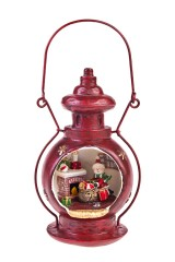 Украшение новогоднее светящееся Лампа - Снеговик с подарками