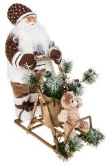 Украшение новогоднее светящееся Дед Мороз на санках с мишкой