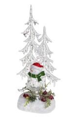 Украшение новогоднее светящееся Снеговик под елкой