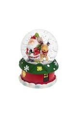 Шар со снегом светящийся Дед Мороз с олененком