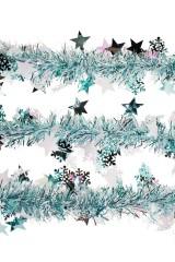 Мишура Мишура, Дл=2м, Ш=7см, фольга блестящая, голубая, со звездочками