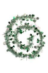Мишура Мишура, Дл=2м, Ш=7см, фольга блестящая, зеленая, со звездочками