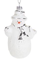 Украшение елочное Белый снеговик