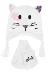 Комплект детский (шапка, перчатки) Кошка