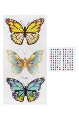 Набор тату-наклеек для тела Три бабочки