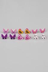 Набор серег детских Бабочки и сердечки